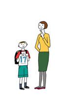 ランドセルの男の子と母親 02487000012| 写真素材・ストックフォト・画像・イラスト素材|アマナイメージズ