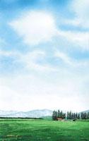 水彩画 ぽっかり雪