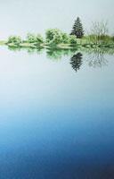 水彩画 鏡写し