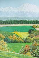 水彩画 美瑛キガラシ畑 02488000009| 写真素材・ストックフォト・画像・イラスト素材|アマナイメージズ