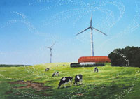 水彩画 風車と牛達
