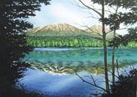 水彩画 オンネトー湖 02488000018| 写真素材・ストックフォト・画像・イラスト素材|アマナイメージズ