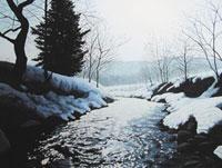 水彩画 雪解けの川