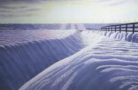水彩画 牧場の朝