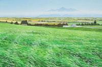 水彩画 風の丘