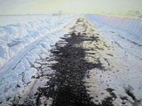 水彩画 凍り道