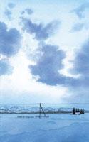 水彩画 朝の光をあびた雲