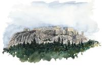 水彩スケッチ アクロポリスの丘 02488000038| 写真素材・ストックフォト・画像・イラスト素材|アマナイメージズ