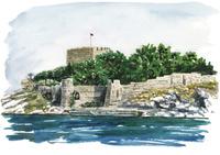 水彩スケッチ ギュウェルジン島 02488000040| 写真素材・ストックフォト・画像・イラスト素材|アマナイメージズ