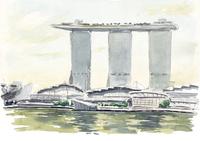 水彩スケッチ シンガポールの風景