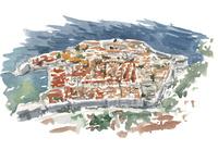 水彩スケッチ 城壁の街、ドブロブニク旧市街 02488000043| 写真素材・ストックフォト・画像・イラスト素材|アマナイメージズ