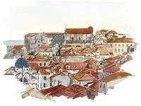 水彩スケッチ 城壁よりドブロブニク旧市街