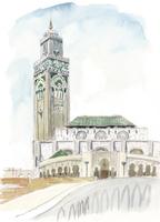 水彩スケッチ ハッサン2世モスク 02488000045| 写真素材・ストックフォト・画像・イラスト素材|アマナイメージズ