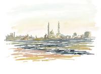 水彩スケッチ 夕焼けに照らされたモスク