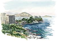 水彩スケッチ 高台よりエーゲ海を望む 02488000048| 写真素材・ストックフォト・画像・イラスト素材|アマナイメージズ