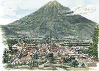 水彩スケッチ 十字架の丘からアンティグアの街を望む