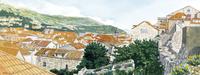 水彩画 オレンジ色の屋根の街
