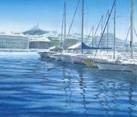 水彩画 ヨットハーバー