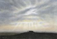 水彩画 砂漠の夜明け