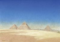 水彩画 青空とギザの三大ピラミッド