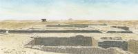 水彩画 遺跡と地平線の彼方にピラミッド