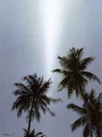 水彩画 突き刺す日差しとヤシの木