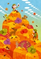 秋の遠足 山の上でおにぎりを食べる女の子