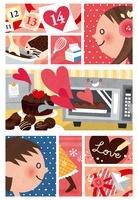 バレンタインの手作りチョコレートと女の子と男の子