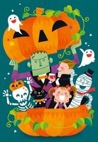 ハロウィンで集まる妖怪たちと女の子