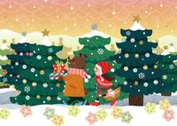 クリスマスパーティーに出かけるクマと女の子