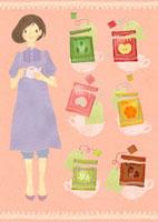 女性とティーバッグ紅茶