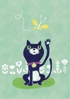 猫と蝶 02494000029| 写真素材・ストックフォト・画像・イラスト素材|アマナイメージズ