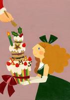 クリスマスケーキとサンタと女の子