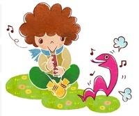 ヘビと笛を吹く男の子