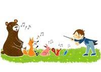 指揮をとる男の子と森の動物たち