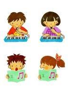 ピアニカを吹く子供と歌う子供