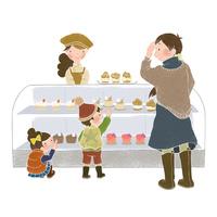 ケーキ屋さんでお買い物、母と子供、店員さん