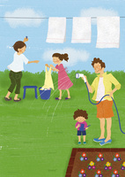 庭で過ごす4人家族