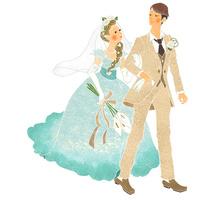 腕を組んであるく結婚式のカップル