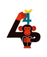 チンパンジーと数字の4