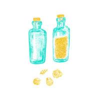 砂の入った瓶と貝殻