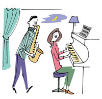 ピアノとサックスを演奏する2人