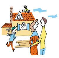 建築中の家をながめるカップル