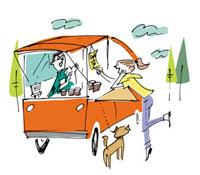 移動販売車と女性と犬
