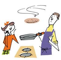 料理する父と女の子 02514000022| 写真素材・ストックフォト・画像・イラスト素材|アマナイメージズ