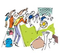 サッカーを観戦する母