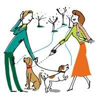 犬の散歩で出会う男女