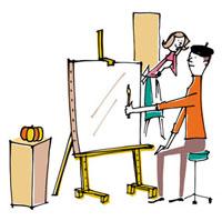 絵を描く男性と見ている妻 02514000037| 写真素材・ストックフォト・画像・イラスト素材|アマナイメージズ
