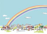 虹の街 02514000038| 写真素材・ストックフォト・画像・イラスト素材|アマナイメージズ