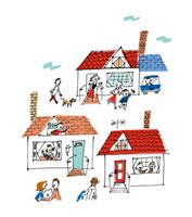 小さな街の家と家族 02514000039| 写真素材・ストックフォト・画像・イラスト素材|アマナイメージズ